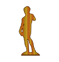 Color silhouette of sculpture david made by vector