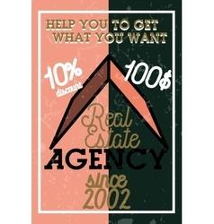 Color vintage real estate agency banner vector image