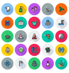 colored simple web icon set - spa beauty vector image