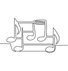 continuous one line drawing music notes concept vector image