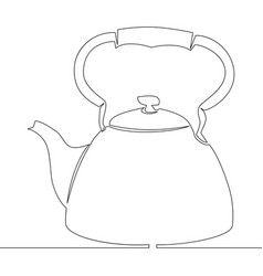 continuous single drawn one line kettle picture vector image