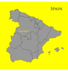 Contour map of Spain on a yellow 01 vector