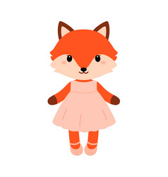 Cute fox in dress in modern flat style vector