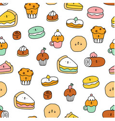 cute pastry characters pattern vector image