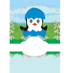 Cute penguin baby shower card vector