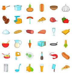 Delicious food icons set cartoon style vector