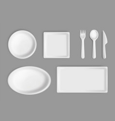disposable tableware mockup set isolated vector image