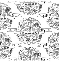 Doodle seamless pattern I love Vegetables vector image