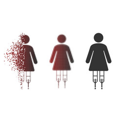 dust pixel halftone woman crutches icon vector image