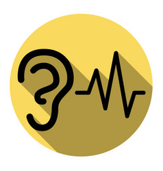 ear hearing sound sign flat black icon vector image