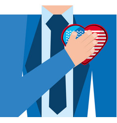 elegant man with american patriotic love vector image