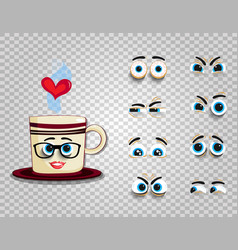 Emoji set of cute cartoon cup with changeable vector