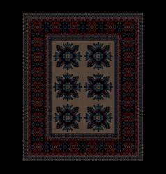 Ethnic carpet dark border and beige mid vector