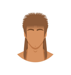 face man with mullet haircut vector image