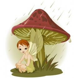 fairy under mushroom vector image