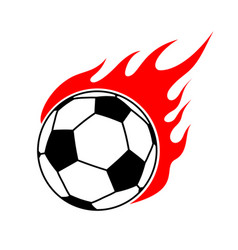 fire soccer ball flame football emblem game sport vector image