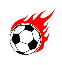 Fire soccer ball flame football emblem game sport vector