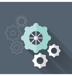 Flat gear wheel icons over blue vector image