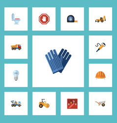 flat icons roll meter bulb excavator and other vector image
