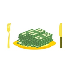 Food oligarch Bundles of money cash eats for vector image