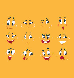 funny cartoon faces angry character expressions vector image