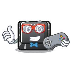 gamer button f12 in cartoon shape vector image