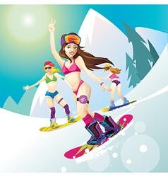 Girl snowboard bikini vector