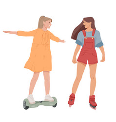 girls ride on self-balancing scooter roller vector image