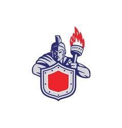 Greek Warrior Shield Torch Retro vector image