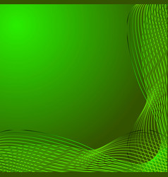 greeting card of green lines made from smoke on a vector image