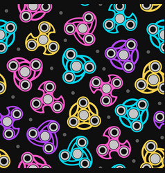 Hand spinners seamless pattern color print on vector