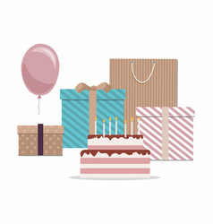 happy birthday card with cake gifts and balloons vector image