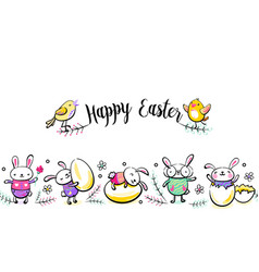 Happy easter seamless border with greeting vector