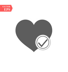 heart with check icon in flat style vector image