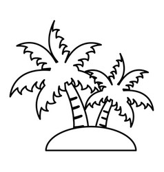 island with palm trees icon image vector image