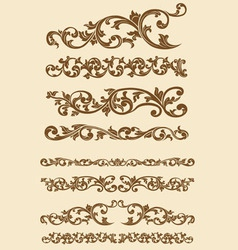 Javanese vintage floral ornament set vector
