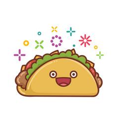 Kawaii smiling mexican taco icon cartoon vector