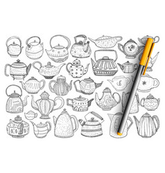 Kettles and teapots doodle set vector