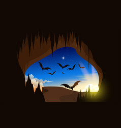 landscape cave and cliff in morning e vector image