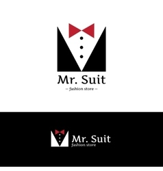 Minimalistic clothes logo hipster suit vector