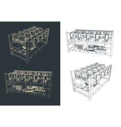 Mining farm drawings vector