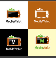 mobile wallet logo and icon vector image