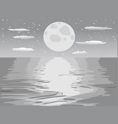 monochrome moon night sea vector image