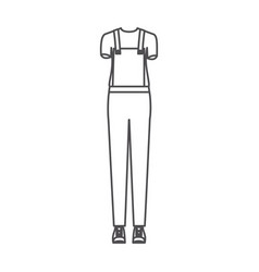 Monochrome silhouette of uniform of delivery woman vector