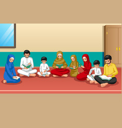 muslim family studying quran and praying at home vector image