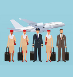 muslim pilot and stewardesses characters in vector image