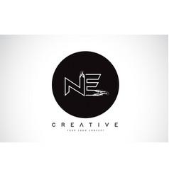 Ne modern leter logo design with black and white vector
