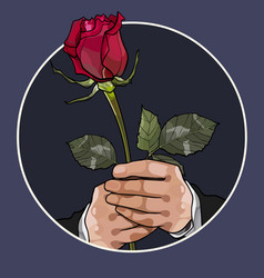 painted red rose in the hands of a man vector image