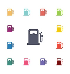 petrol station flat icons set vector image