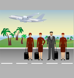 pilot and stewardesses characters in uniform vector image